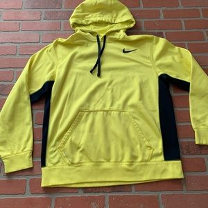 Nike Yellow Navy Mens Hoodie Therma-Fit Large